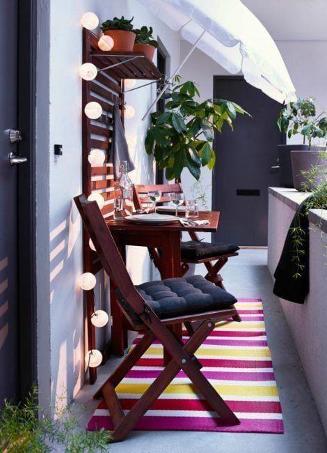 Decoración de terrazas pequeñas con luces