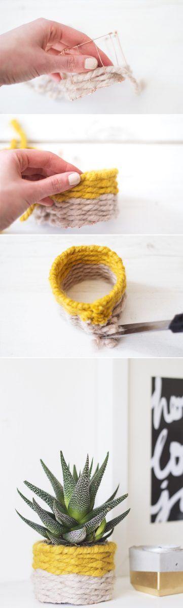 Maceta original de alambre y cuerda