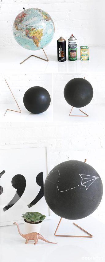 Pintura de pizarra en un globo terráqueo