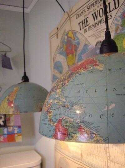 Reciclar un globo terráqueo como lámpara