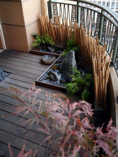 Bambú natural en la terraza