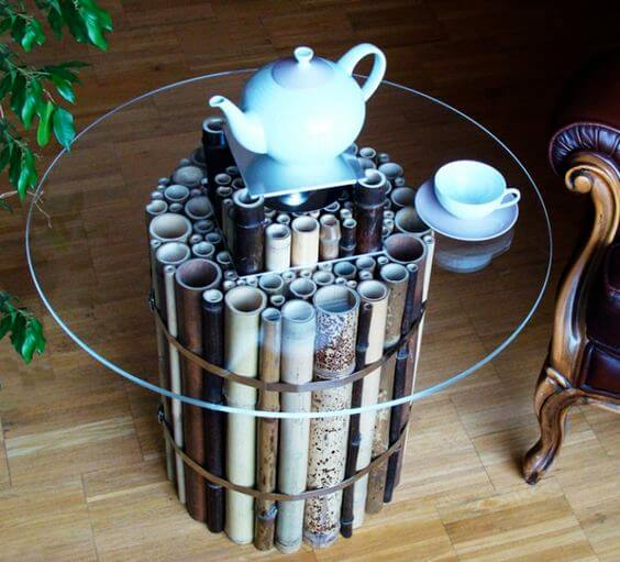 Bambú para decorar una mesa