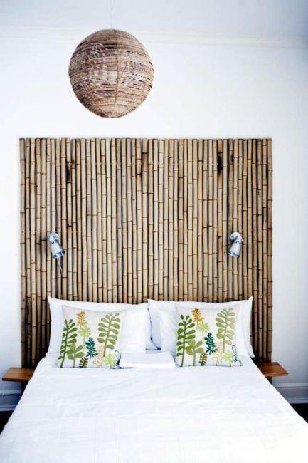 Cabecero con caña de bambú