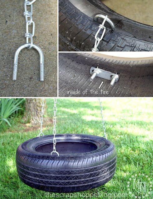 Columpio hecho con un neumático