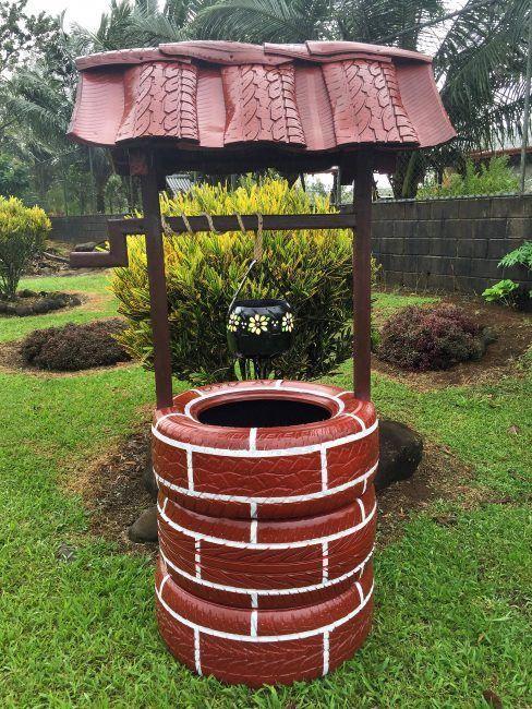 Pozo para jardín hecho con neumáticos
