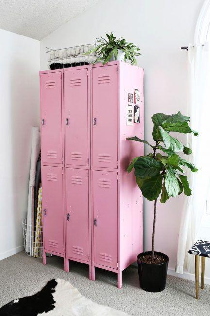 Taquillas metálicas vintage rosa