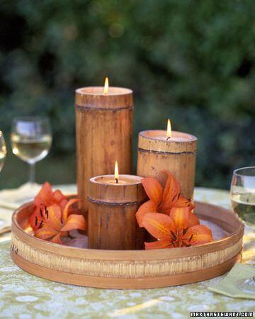 Velas con bambú