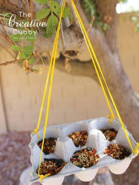 Comedero de pájaros en un cartón para huevos