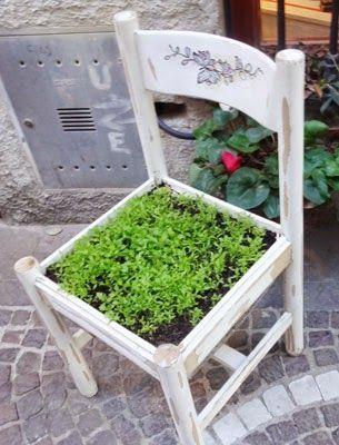 Reciclar una silla para hacer un macetero