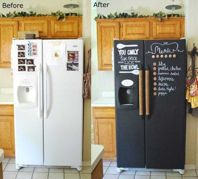 Antes y después de pintar una nevera