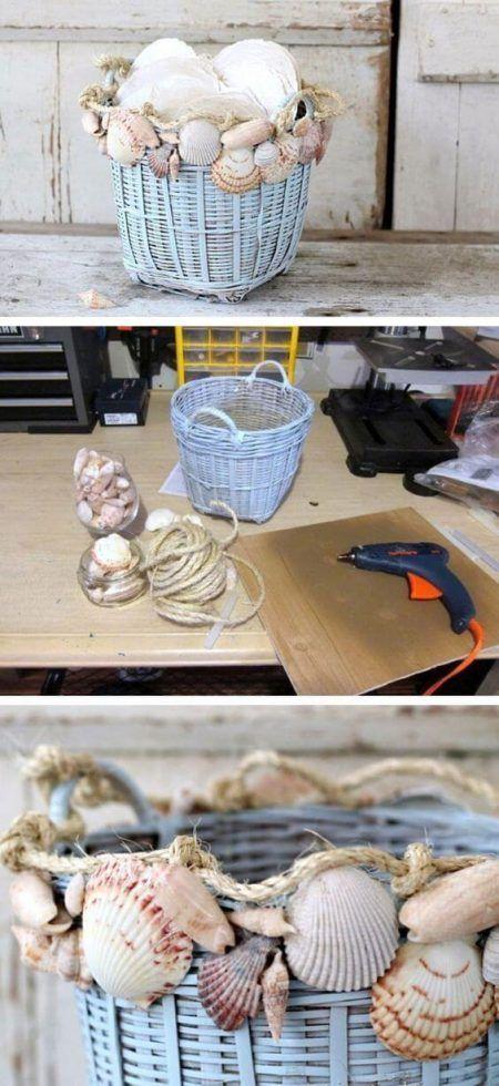 Cesta de mimbre con conchas
