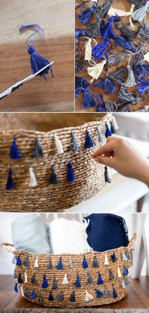 7 formas de decorar cestas de mimbre la cartera rota - Canastos de mimbre ...