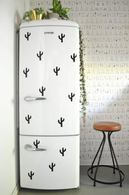 Decorar la nevera con cactus