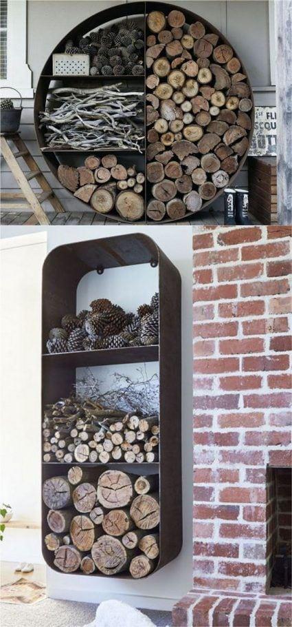 Almacenar leña para la chimenea