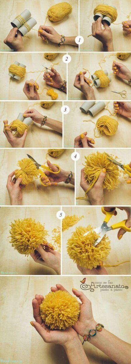 Cómo hacer pompones con rollos de papel higiénico