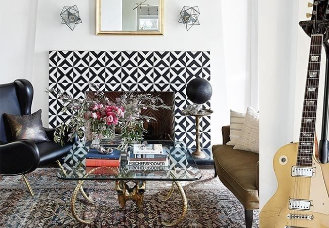 Chimenea con azulejos