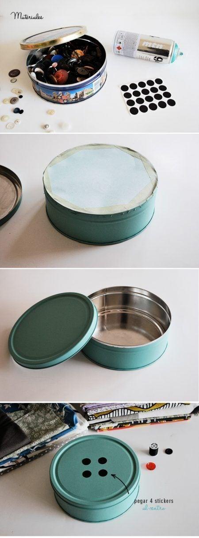 Costurero con lata metálica
