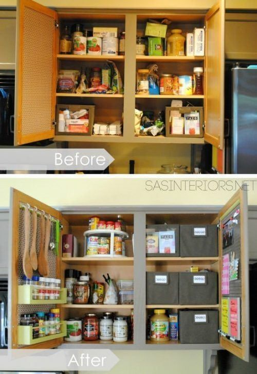 Antes y después de organizar los armarios de la cocina