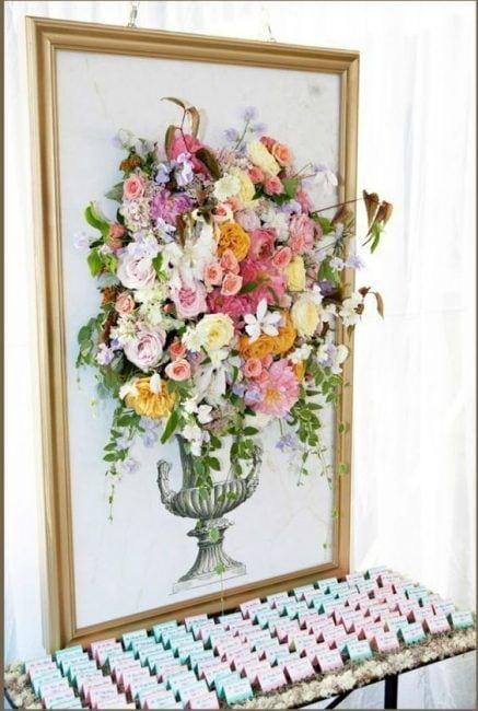 Cuadro imitando jarrón de flores