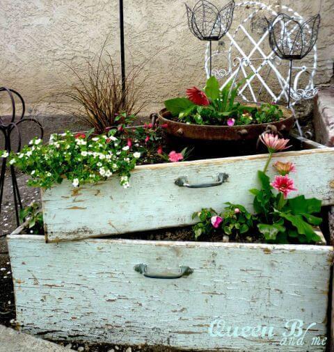 Reciclar cajones para el jardín