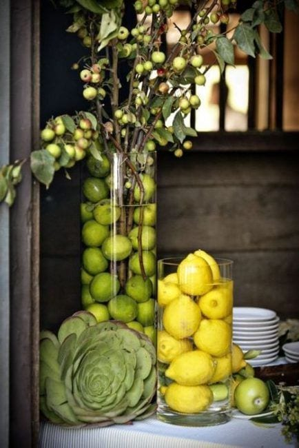 Decoración con frutas