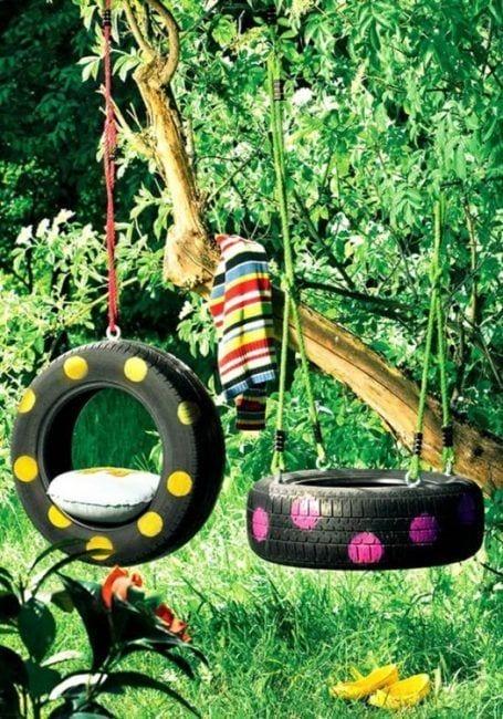 Decorar el jardín con neumáticos usados