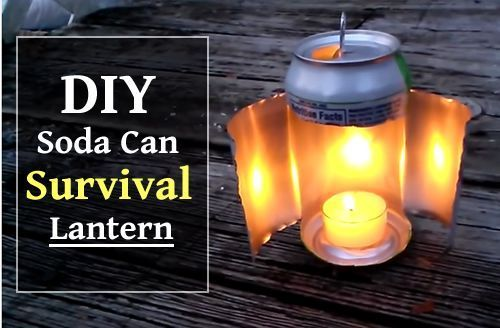 Linterna con lata de refresco y una vela