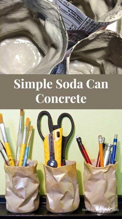 Manualidades con latas de refresco y cemento