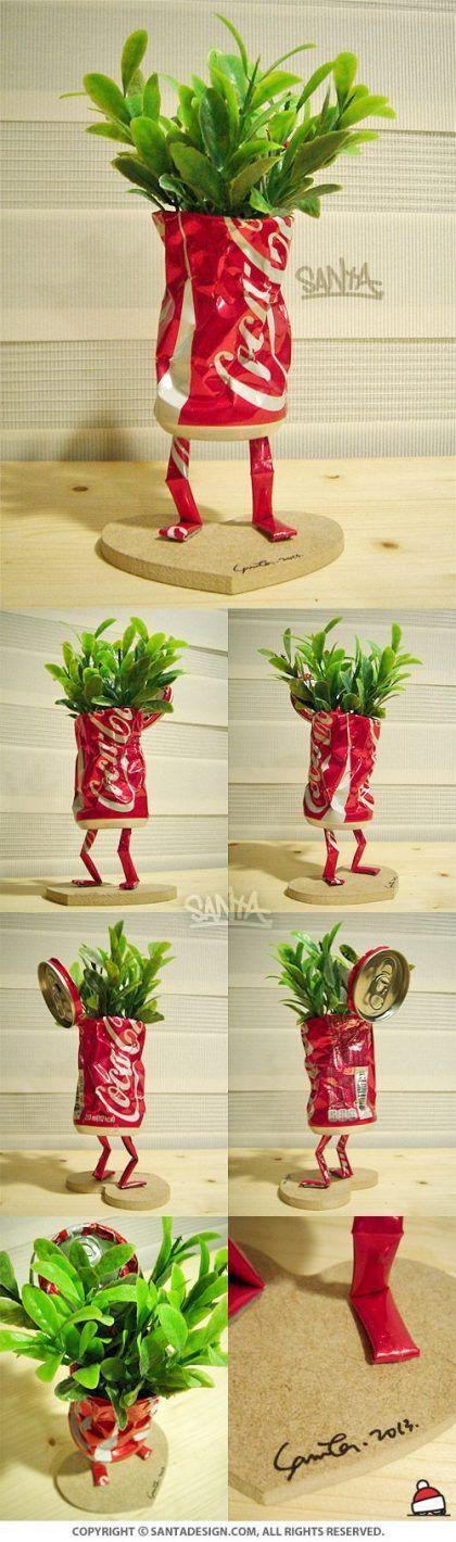 Manualidades con latas de refresco y plantas