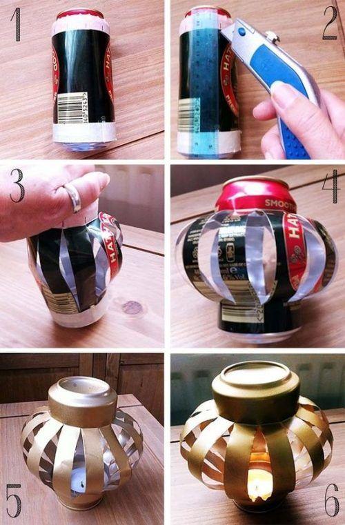 Portavelas con lata de refresco