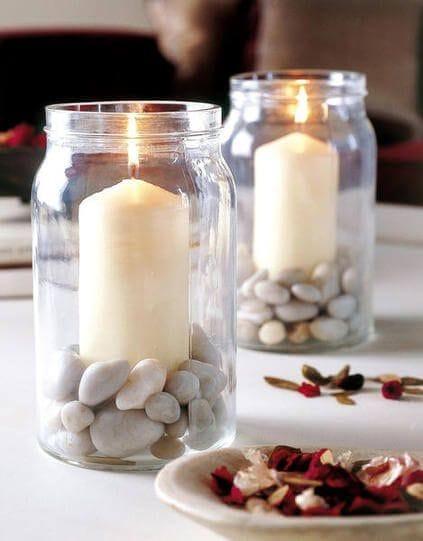 Decoración con piedras y velas