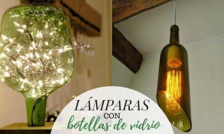 Lámparas con botellas de vidrio