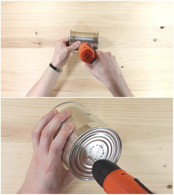 Hacer agujeros a la lata de conserva