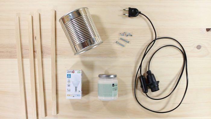 Materiales para lámpara con lata de conserva