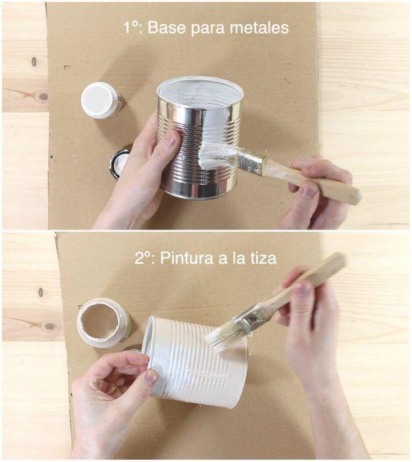 Pintar la lata de conserva reciclada