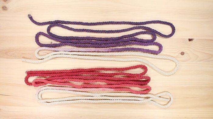 Dos colores diferentes para la cuerda de algodón