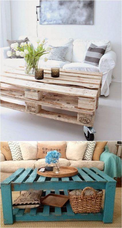 Ejemplos de mesas hechas con palets