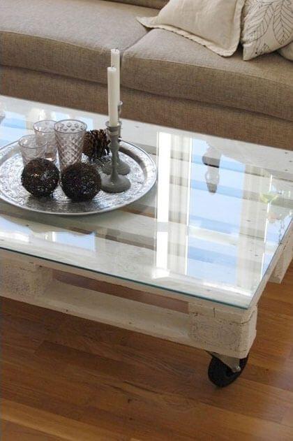Mesa de café hecha con palets
