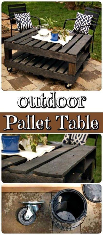 Mesa de jardín con palets