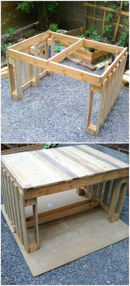 Reciclar palets para hacer una mesa