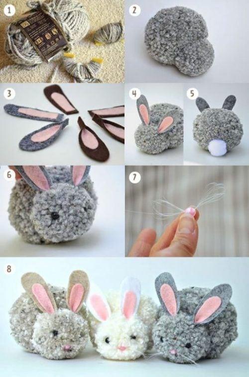 Conejos hechos de pompones