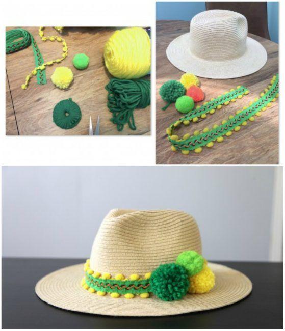 Decorar sombrero con pompones