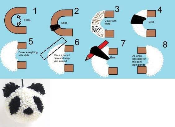 Oso panda con un pompón