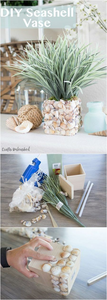 Florero hecho de conchas