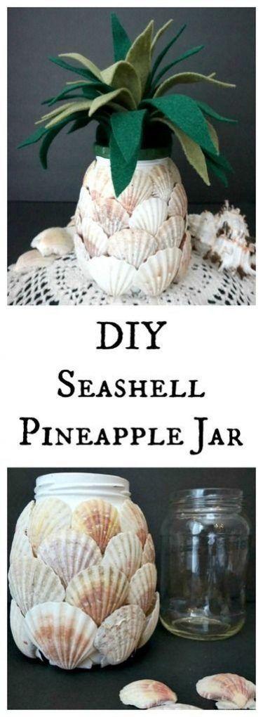 Imitación de piña usando conchas marinas