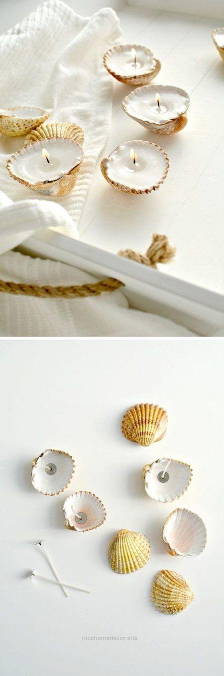 Velas con conchas de playa
