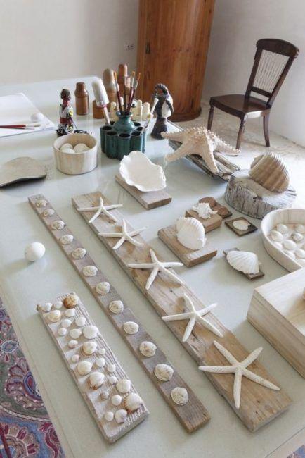 Conchas en listones de madera