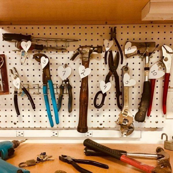 Pegboard para herramientas