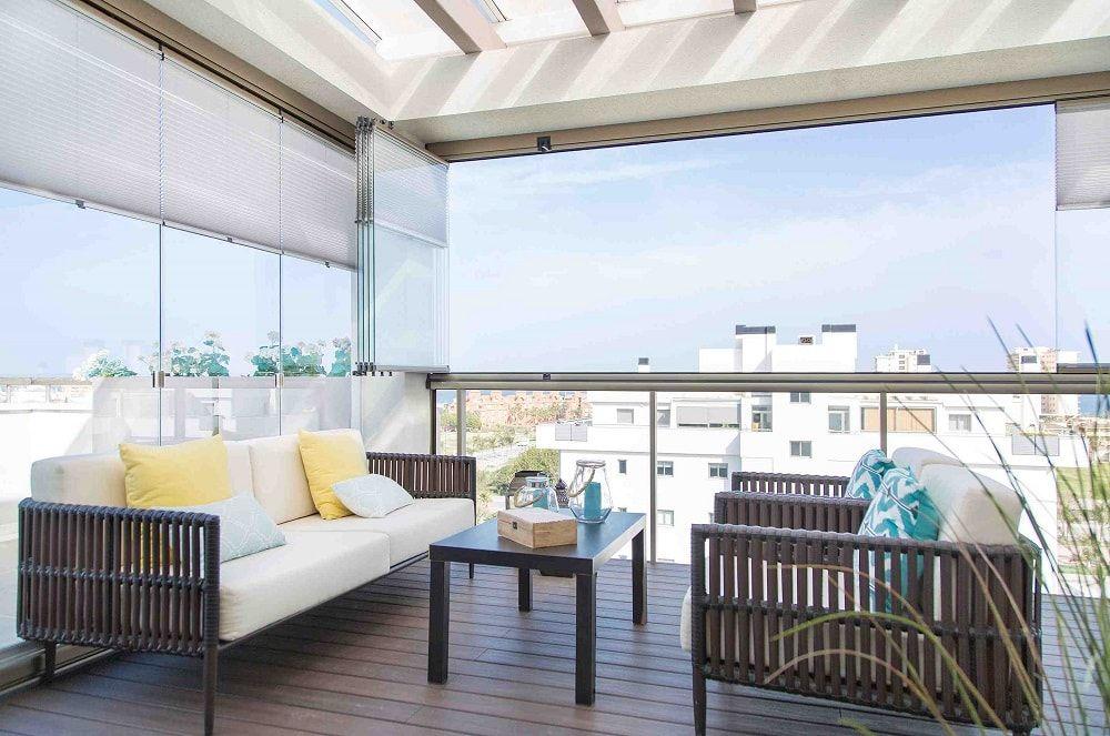 Cortinas de cristal en terrazas acristaladas