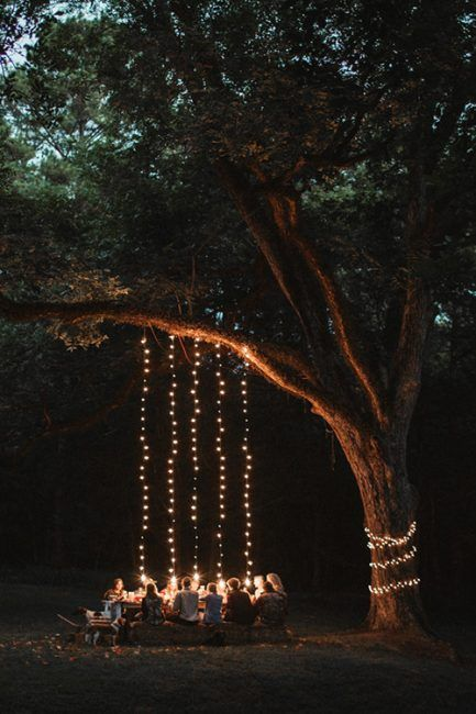 Cascada de luces para una fiesta